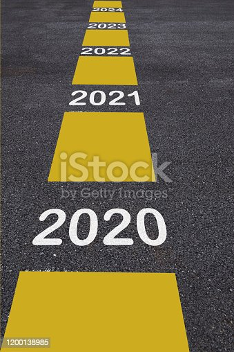 1081389658 istock photo Number of 2020 to 2024 on asphalt road surface with marking lines 1200138985