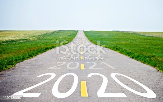 1150191246 istock photo Number of 2020 to 2024 on empty asphalt road 1150189687
