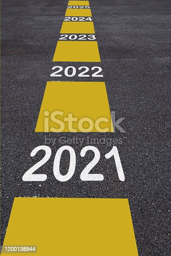 1081330336 istock photo Number of 2021 to 2025 on asphalt road surface with marking lines 1200138944