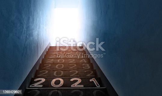 Number of 2021 to 2028 on empty staircase in public building