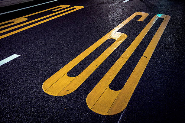 Number of 60, which was written on the road. stock photo