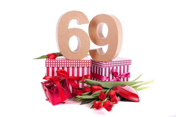 number of age in a party mood - number 69 stock photos and pictures