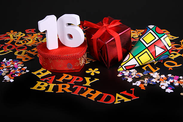 number of age in an happy birthday card - number 16 stock photos and pictures