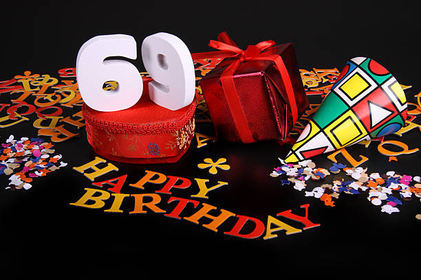 number of age in an happy birthday card - number 69 stock photos and pictures