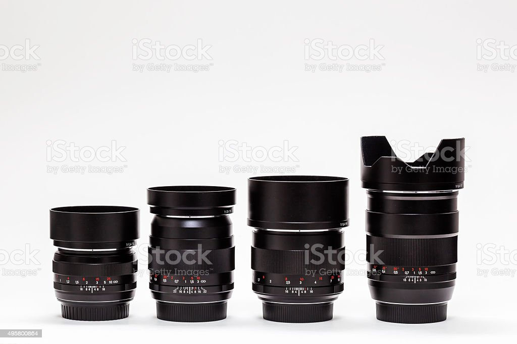 number of expensive lenses in row stock photo