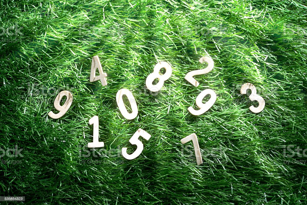 Number on artificial turf stock photo