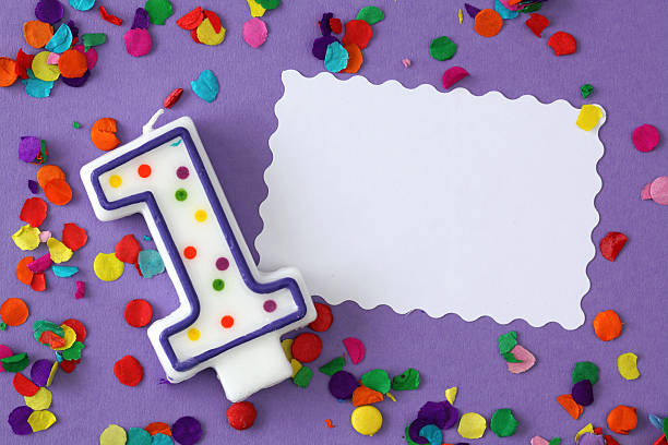 Number one birthday candle stock photo