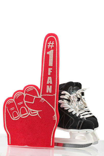 Number One Fan Hockey Number one fan red foam hand with ice skates. fan club stock pictures, royalty-free photos & images