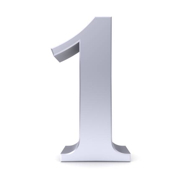 1 number one first 3d silver numeral isolated sign - number 1 stock pictures, royalty-free photos & images