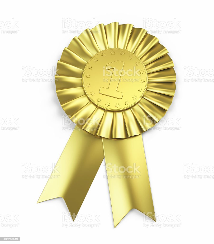 Number one , Golden Award Ribbon stock photo