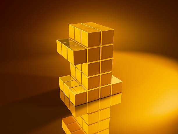 Number One Golden Cubes 3D Render of a Number One built with pixelated golden cubes. Very high resolution available! Use it for Your own composings!Related images: golden cube stock pictures, royalty-free photos & images