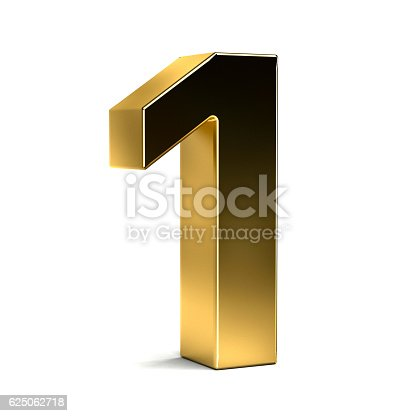 133379665 istock photo Number One Golden Typeface. 3D Render Illustration 625062718