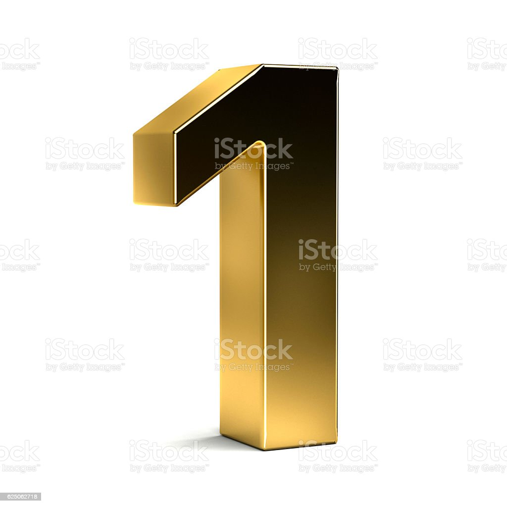 Number One Golden Typeface. 3D Render Illustration stock photo