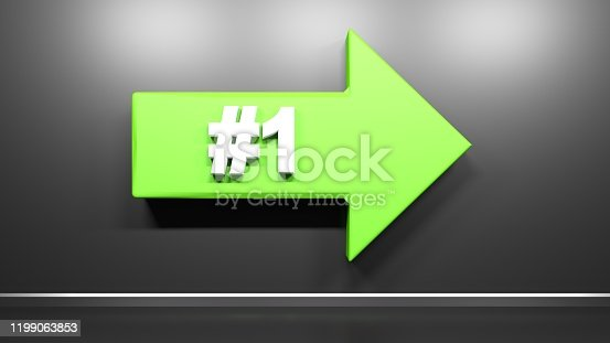 935214858istockphoto Number One green arrow at black background - 3D rendering illustration 1199063853