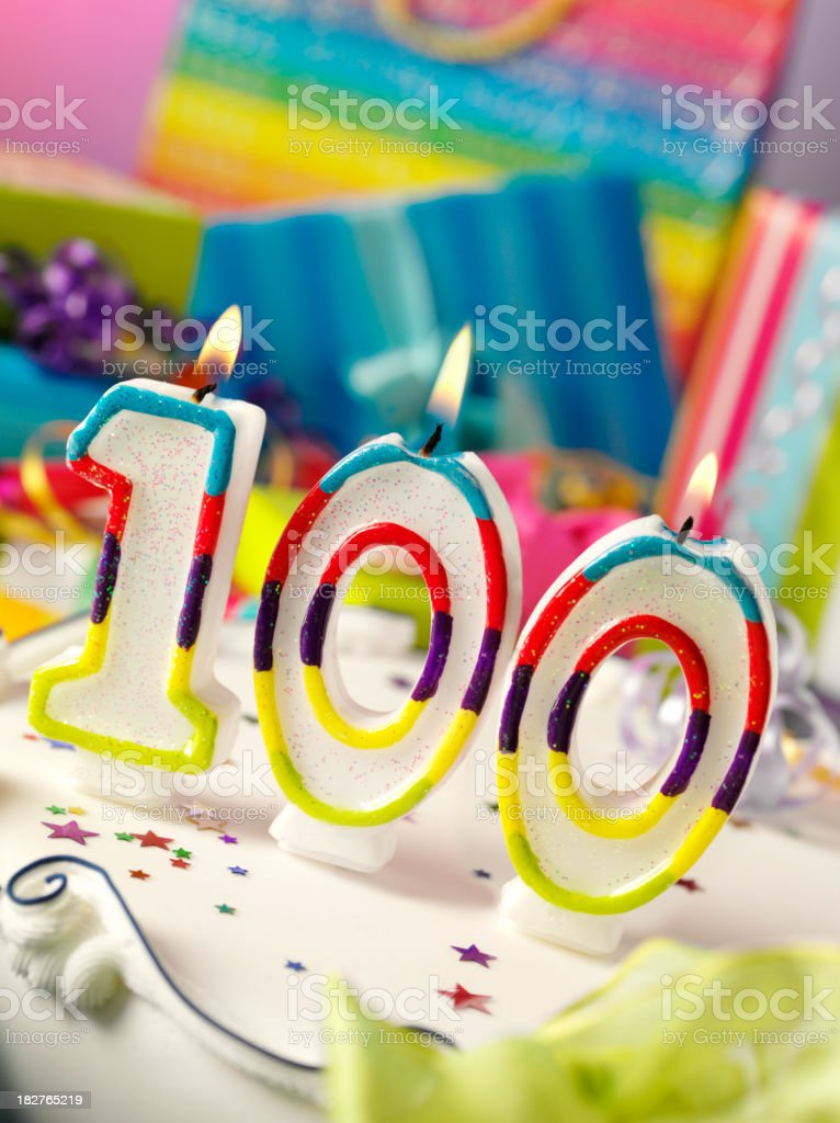 Number One Hundred Birthday Candle stock photo