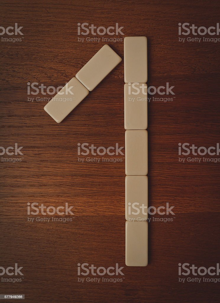 number one laid out the domino chips stock photo
