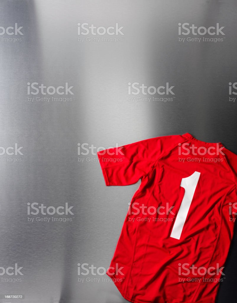 Number One on a Red Football Shirt royalty-free stock photo