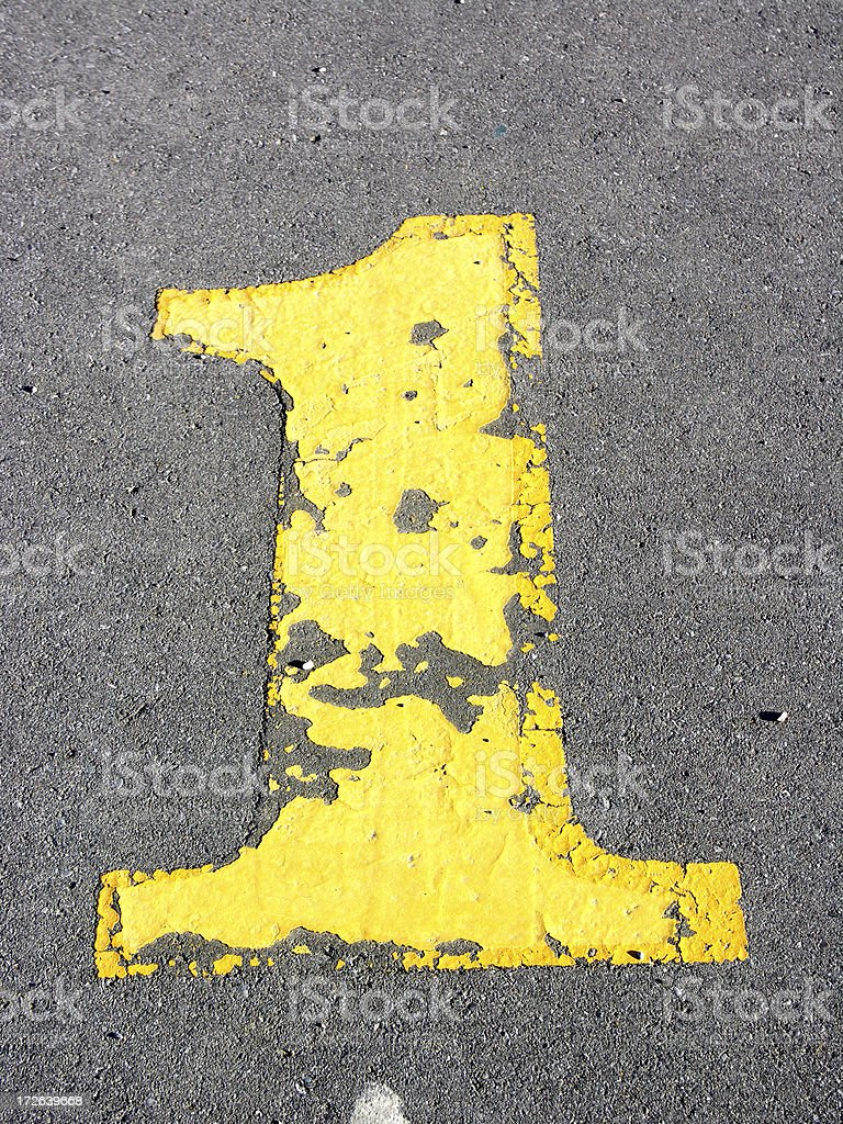 Number One on Asphalt - 1 of 4 royalty-free stock photo