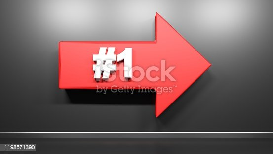 521911567 istock photo Number One red arrow at black background - 3D rendering illustration 1198571390