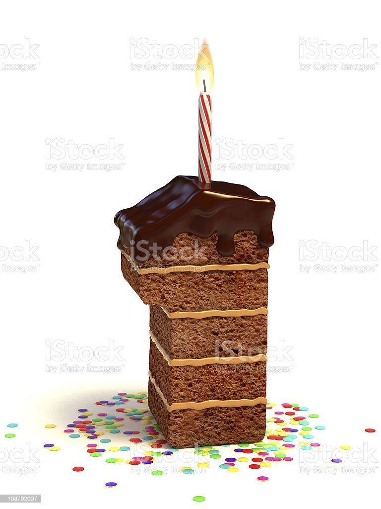 number one shaped chocolate cake royalty-free stock photo