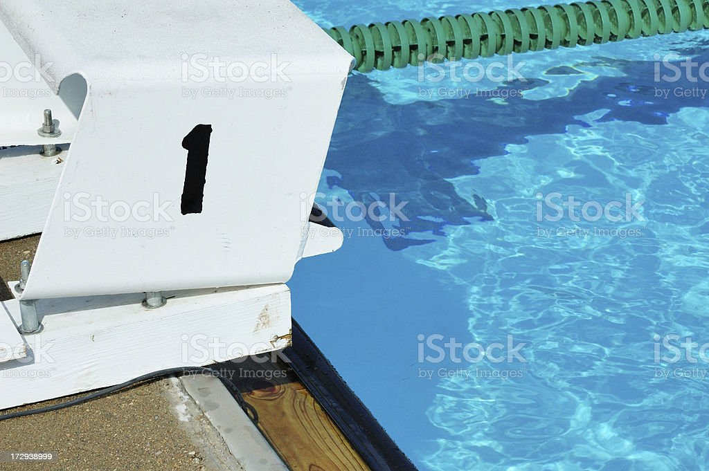 Number One Start Block for Swimming stock photo