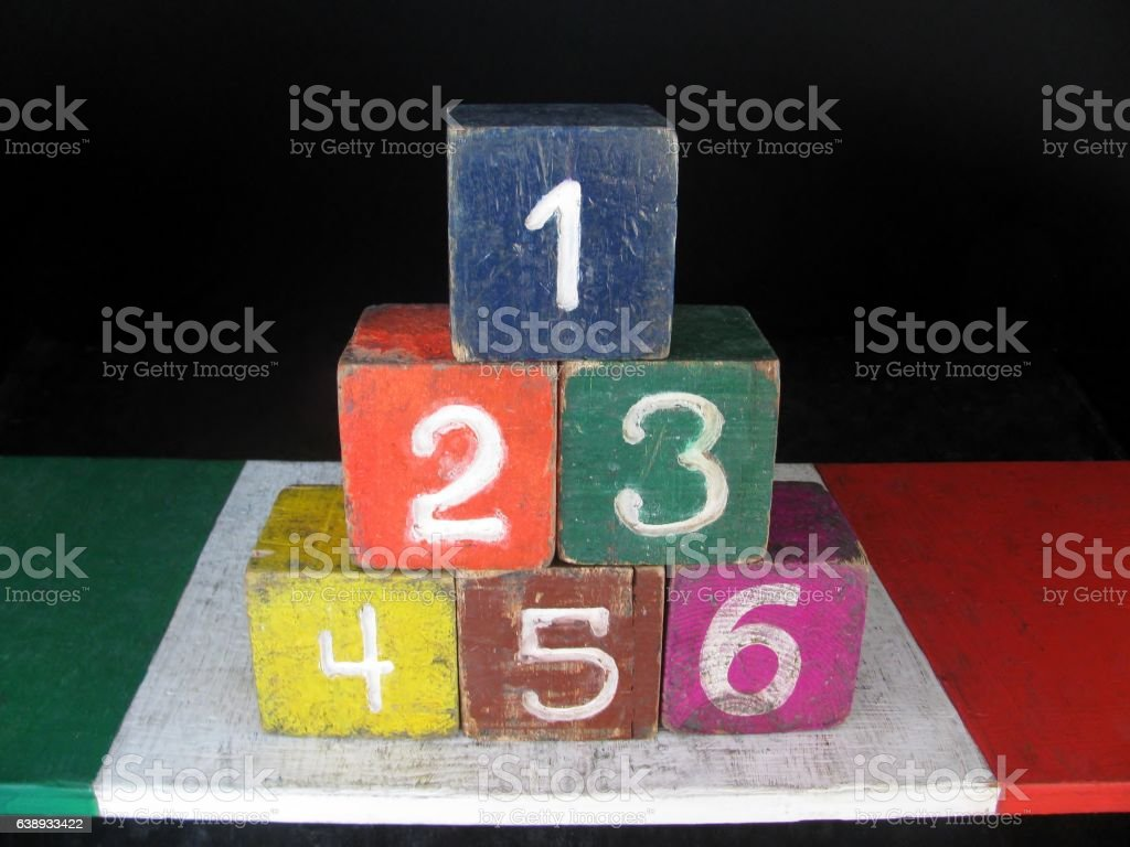 Number one to six arrange in pyramid stock photo