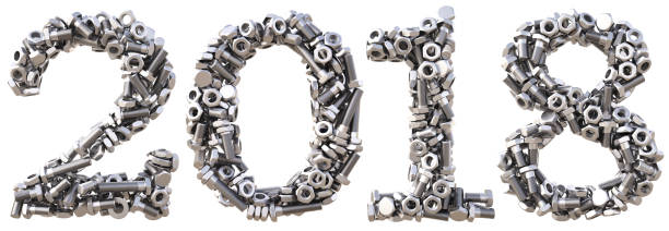 number new 2018 year from the nuts and bolts. isolated on white. 3D illustration bolt fastener stock pictures, royalty-free photos & images