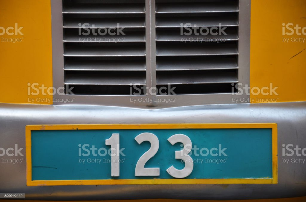 Number plate with 123 stock photo
