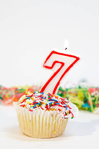 Number Seven Party Cake Stock Photo