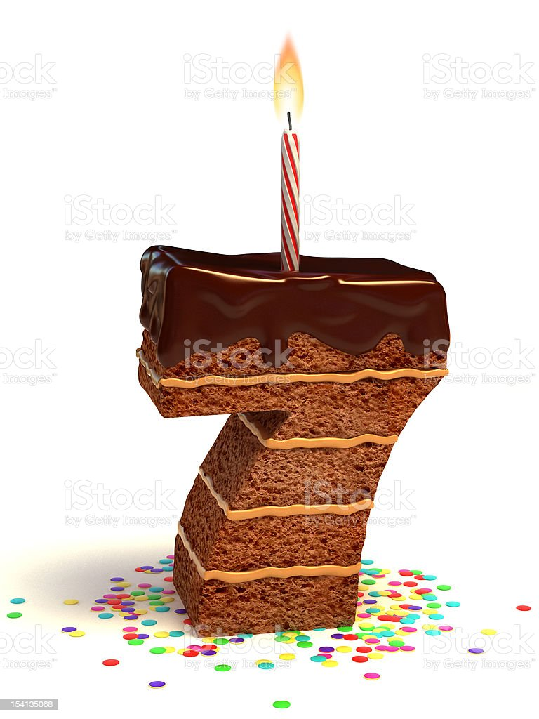 number seven shaped chocolate cake stock photo