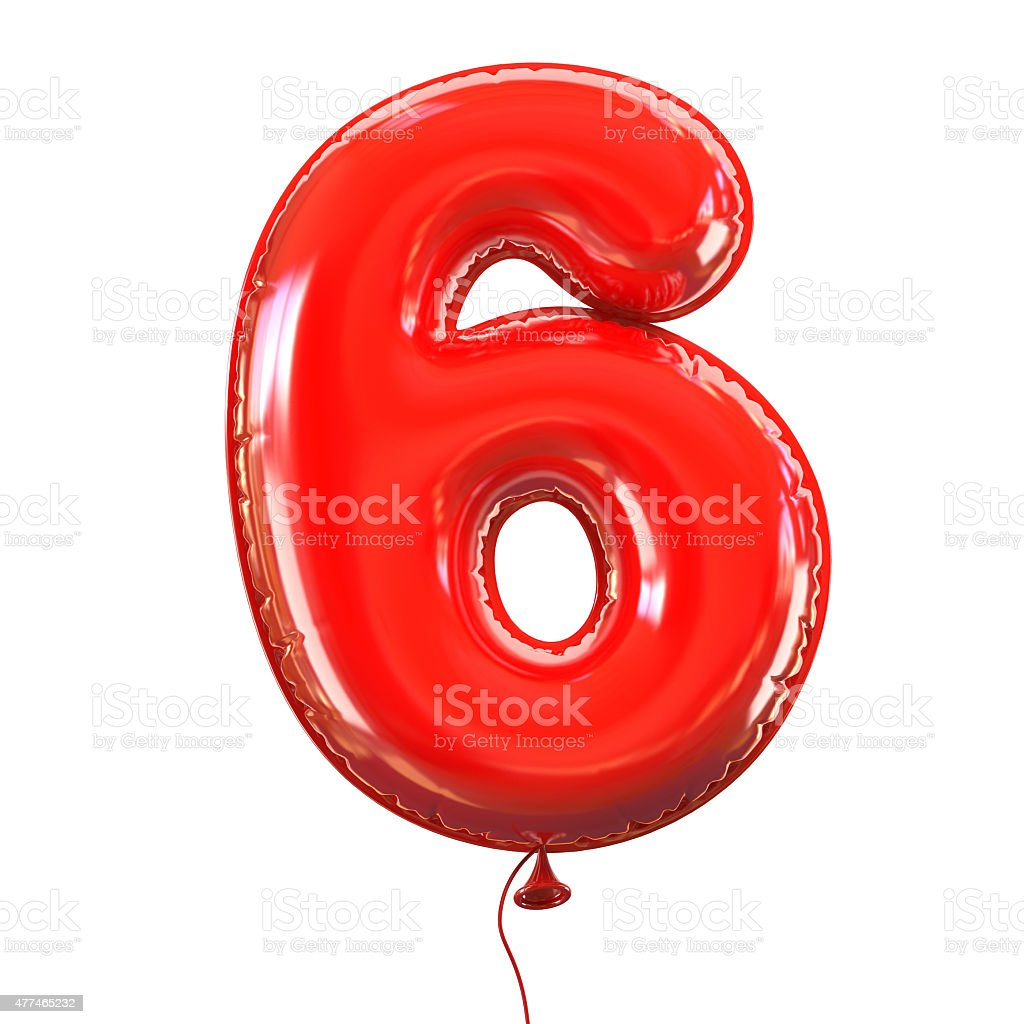 Number six - 6 balloon font stock photo