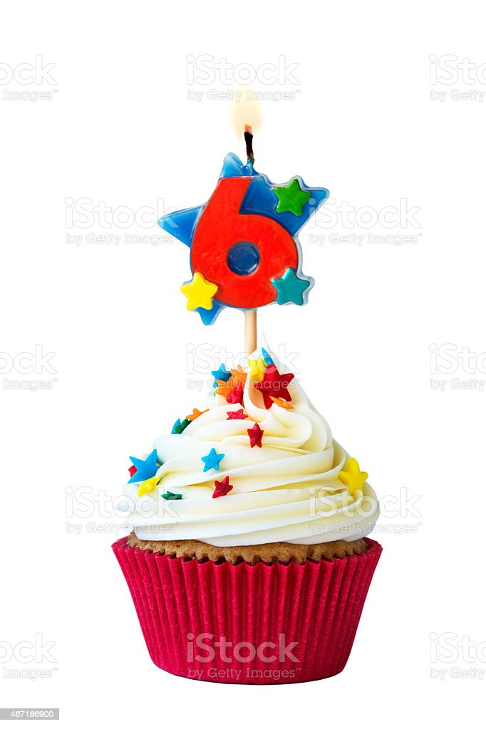 Number six cupcake stock photo