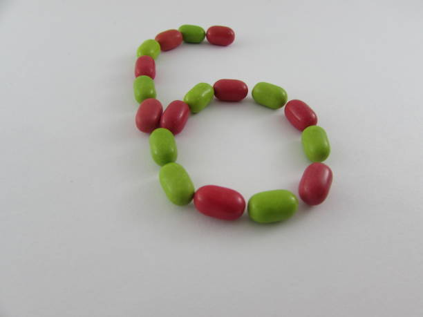 number six made from multicolored mints - 8 infographic stock photos and pictures