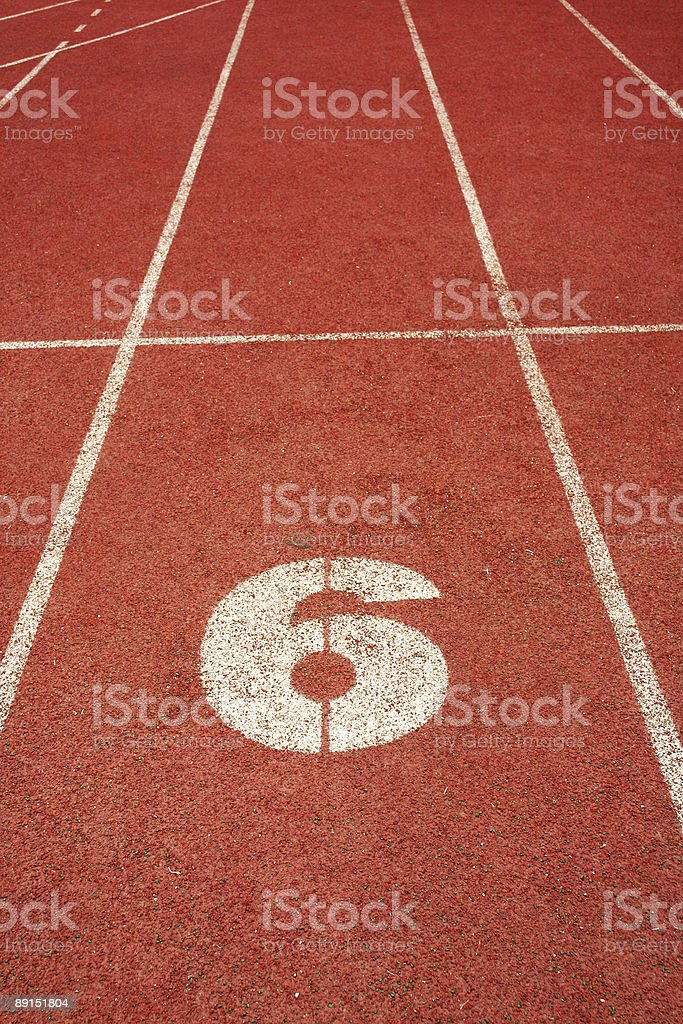 number six on red run track royalty-free stock photo