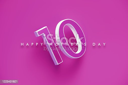 Number Ten and Happy Mother's Day message written over magenta background. Horizontal composition with copy space. Happy Mother's Day concept.