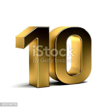 istock Number Ten Golden 3D Render Illustration 624748776