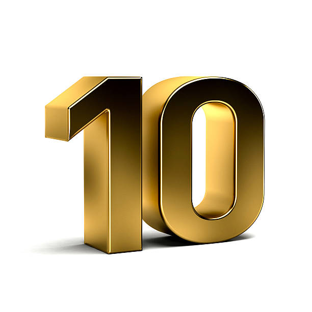 number ten golden 3d render illustration - number 10 stock photos and pictures