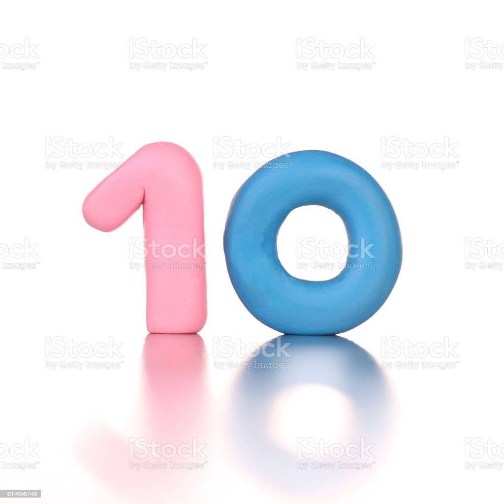 10 number ten made of colored plasticine isolated – zdjęcie