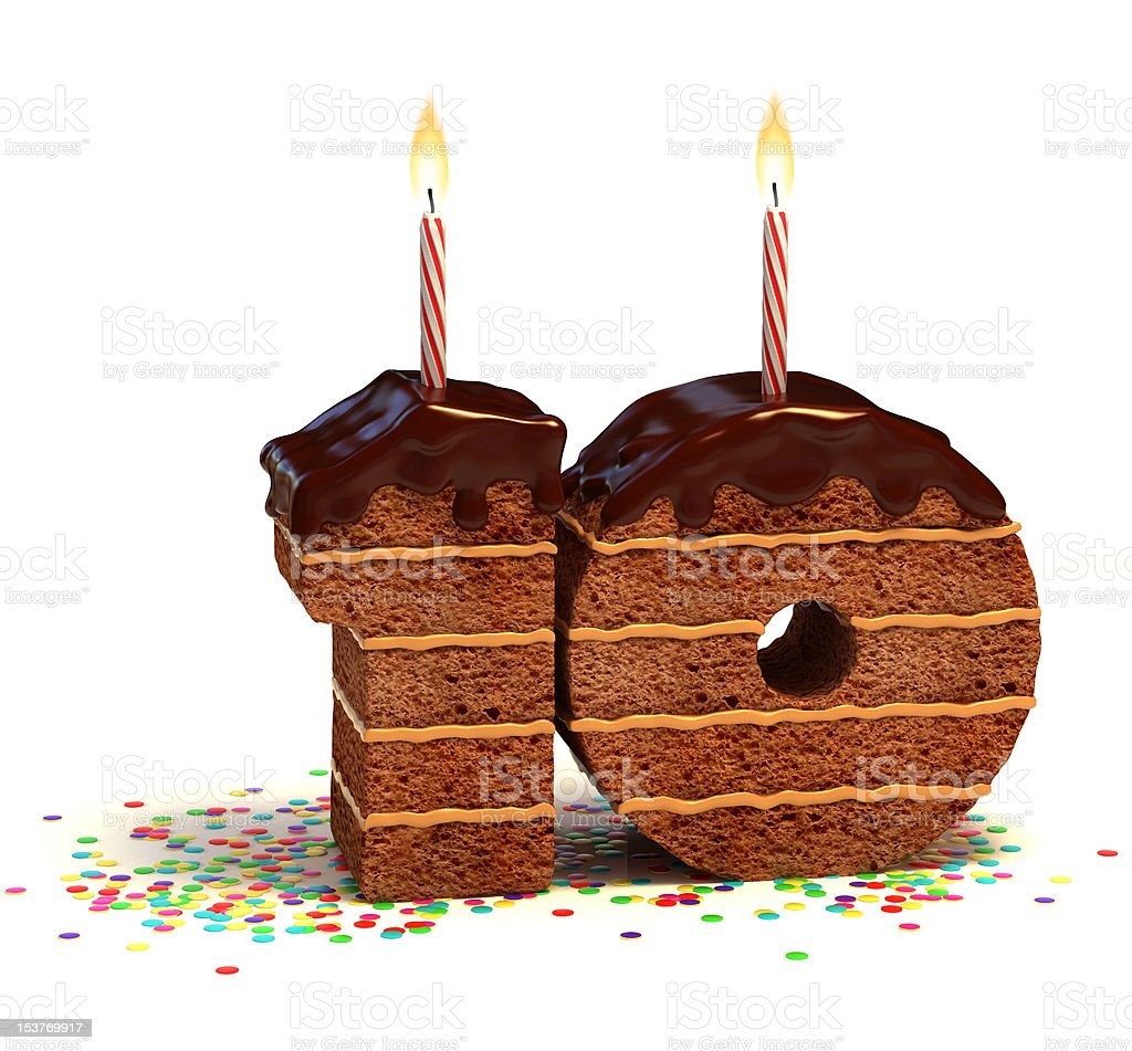 number ten shaped chocolate cake stock photo