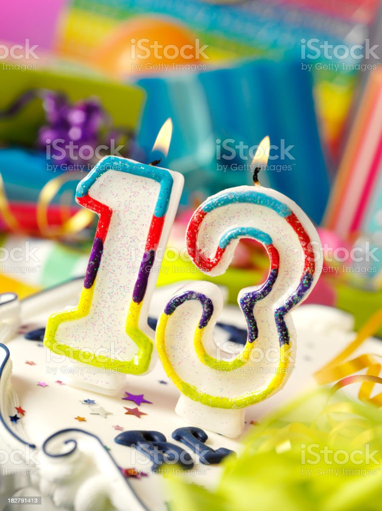 Number Thirteen Birthday Candle stock photo