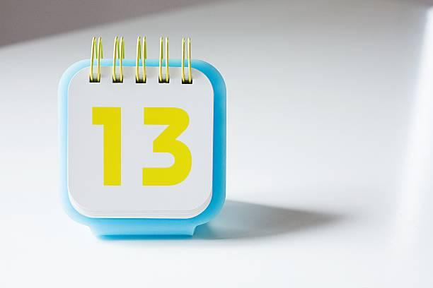 Number thirteen on a calendar stock photo