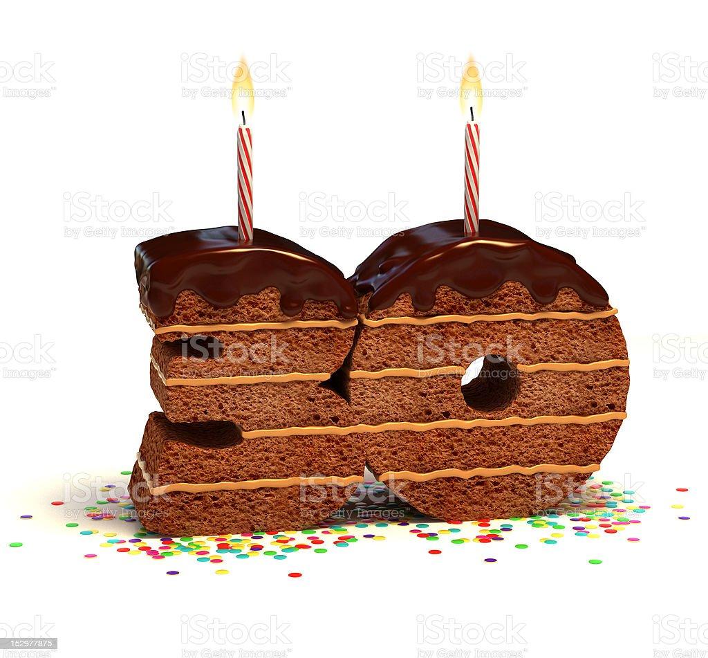Número de treinta forma chocolate pastel - foto de stock