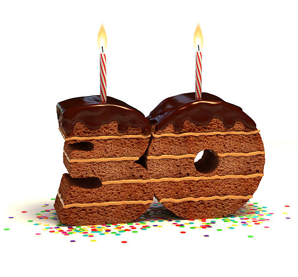 number thirty shaped chocolate cake - number 30 stock photos and pictures