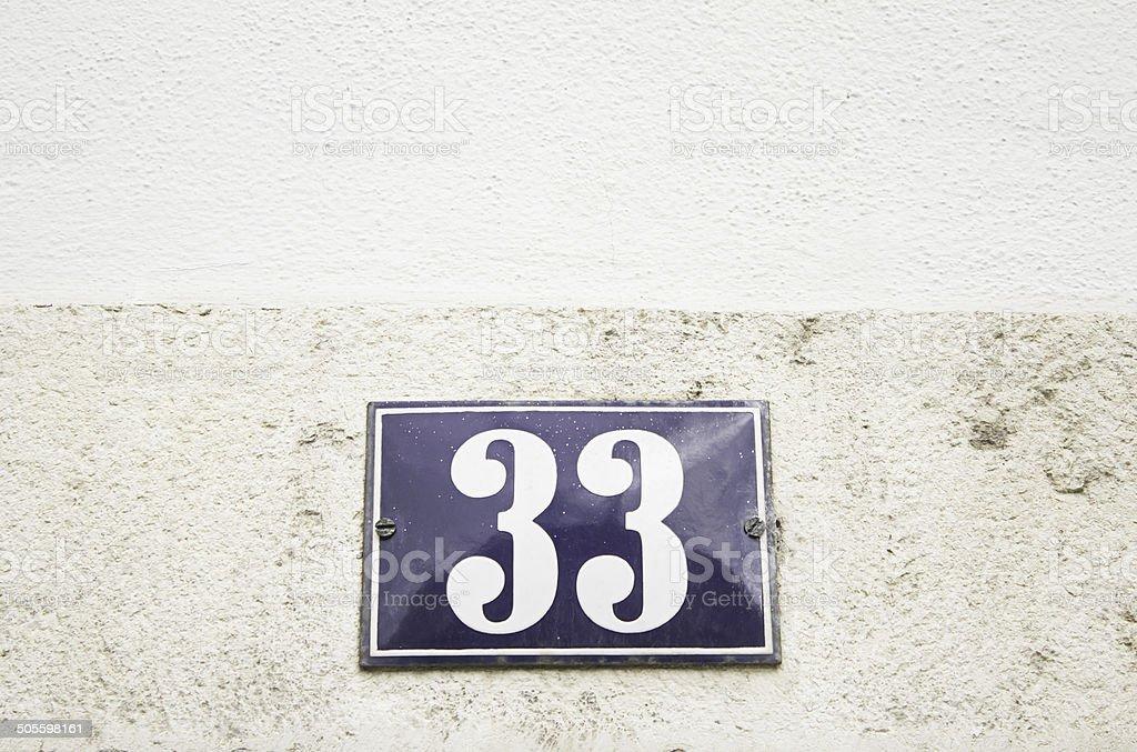 Number thirty three home stock photo