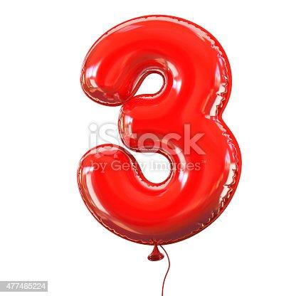 istock Number three - 3 balloon font 477465224