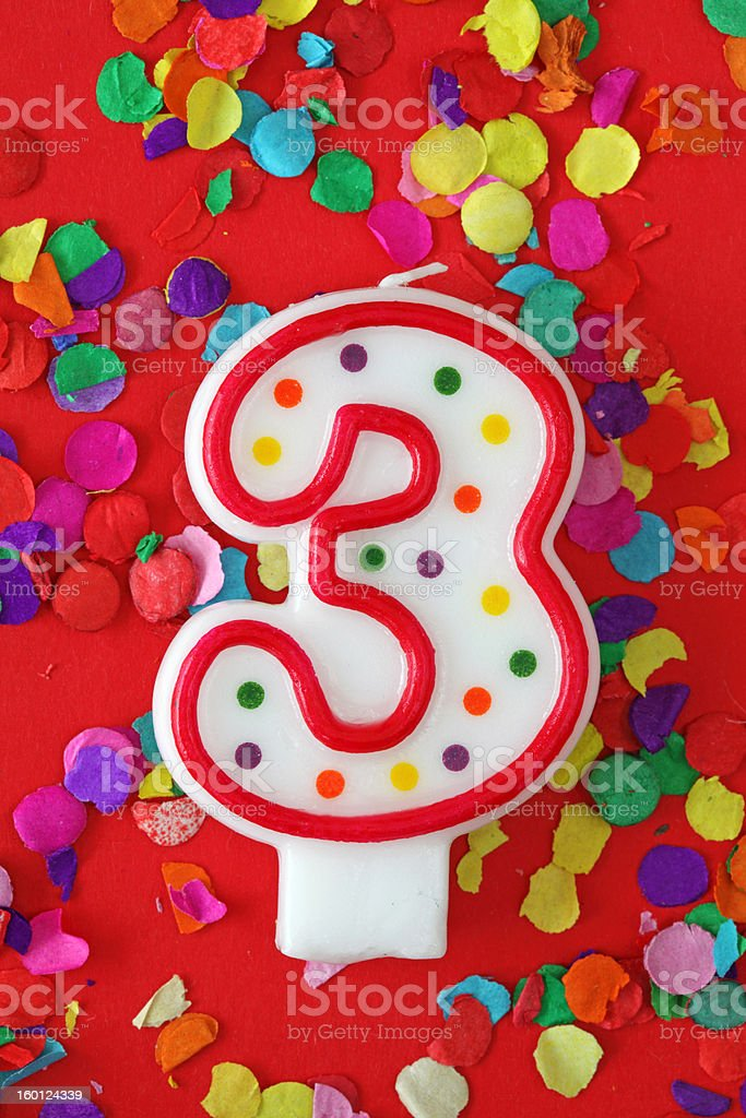 Number three birthday candle royalty-free stock photo