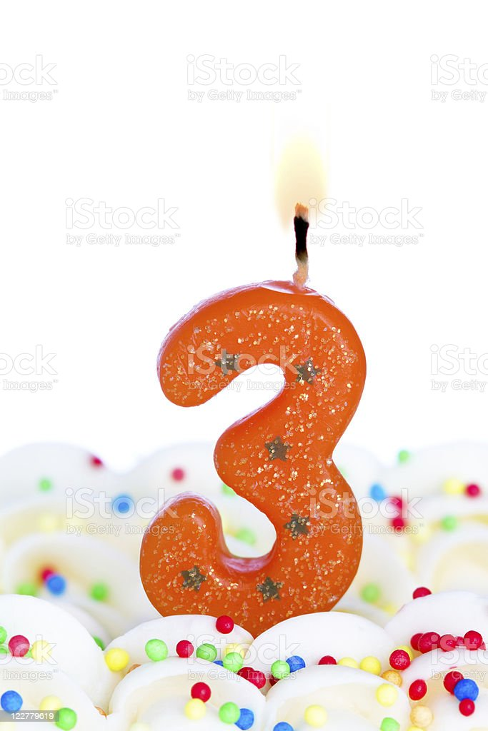 Number three candle royalty-free stock photo