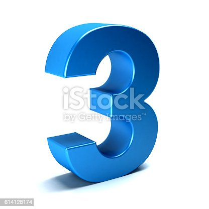 istock Number Three Color Blue Icon. 3D Render Illustration 614128174