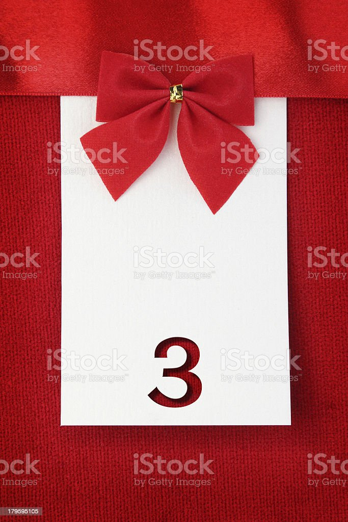 Number three on red greeting card stock photo