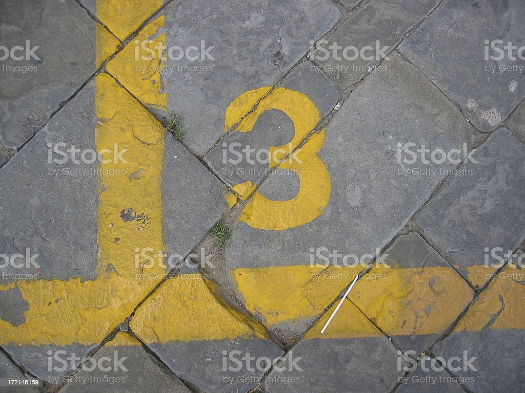 Number Three Painted on Brick Road stock photo